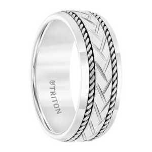"""8 mm White Tungsten """"Garland"""""""