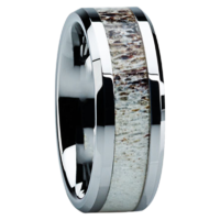 "8 mm Antler Inlay in Titanium Ring ""Boise"""