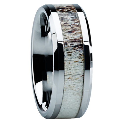 "8 mm Antler Inlay in Titanium Ring ""Boise"""