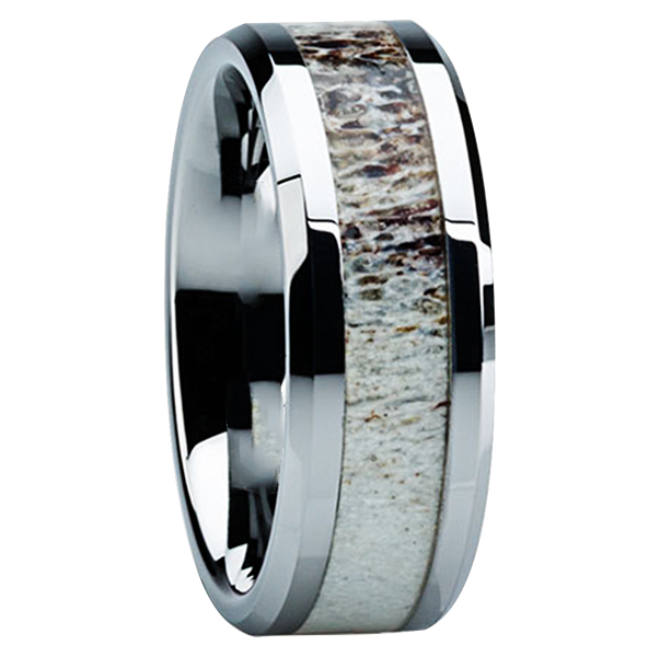 8 Mm Antler Inlay In Titanium Ring Boise Tungsten Rings Com