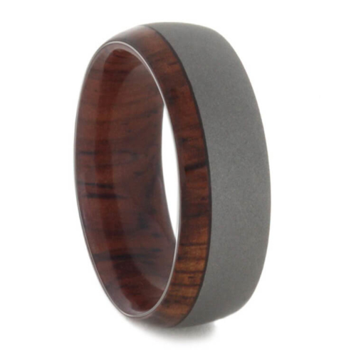 "8 mm Sandblasted Titanium Ring with Rosewood Sleeve ""Marcos"""