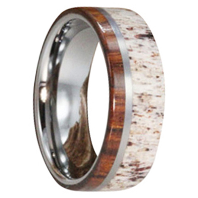 "8 mm Titanium Ring with Deer Antler/Ironwood ""Reno"""