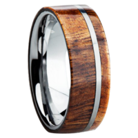 "8 mm KOA Wood Inlay in Titanium Ring ""Fontana"""