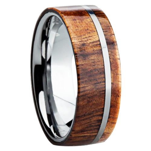"8 mm KOA Wood Inlay in Titanium Ring ""Fontana"""