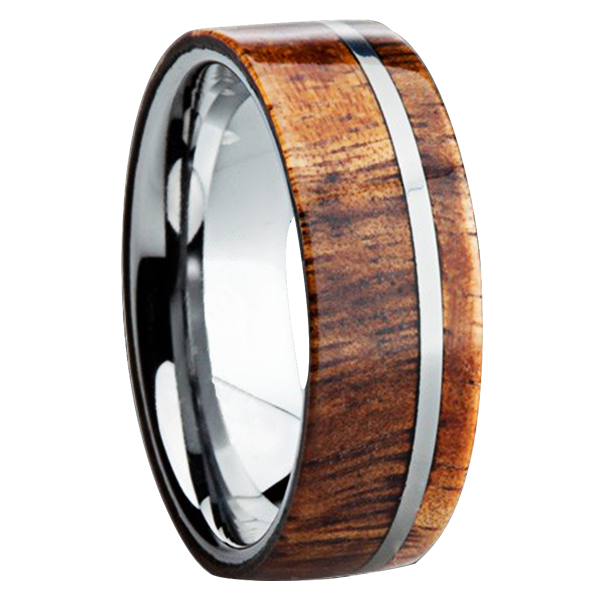 8 mm koa wood inlay in titanium ring fontana tungsten ringscom - Mens Wooden Wedding Rings