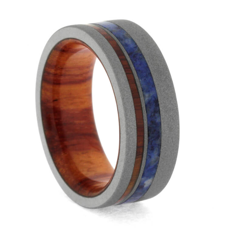 "8 mm Sandblasted Titanium Ring with Tulipwood Sleeve ""Rotterdam"""