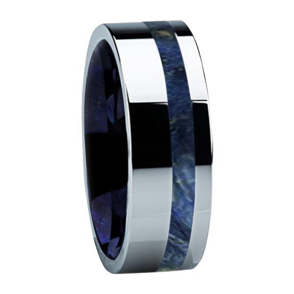 "8 mm Box Elder Wood/Sleeve in Titanium Ring ""Arlington"""