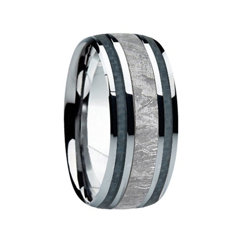 "9 mm Meteorite in Titanium Ring ""Memphis"""