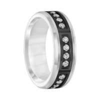 ".42 cwt Black/White Tungsten with Diamonds  ""Nantucket"""