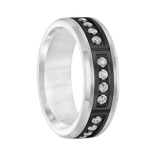 ".42 cwt Black/White Tungsten with Diamonds  ""Nantucket"""