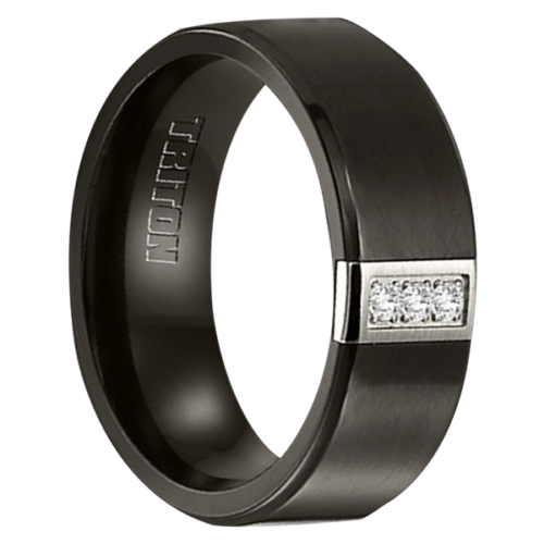 "8MM Black Titanium with 3 Diamond Ring ""Venturer"""