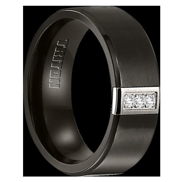 """8MM Black Titanium with 3 Diamond Ring """"Venturer"""""""