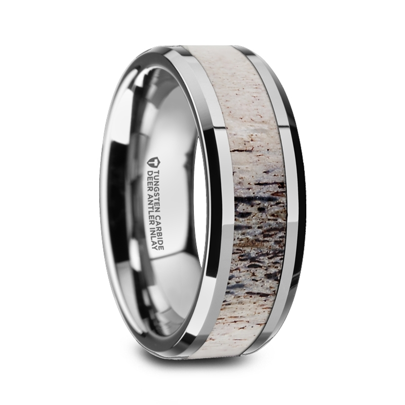 "Titanium Rings - Antler Inlay ""Lille"""