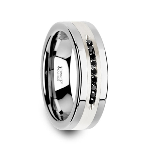 ".27 cwt Black Diamond Silver/Tungsten Ring ""Karl"""