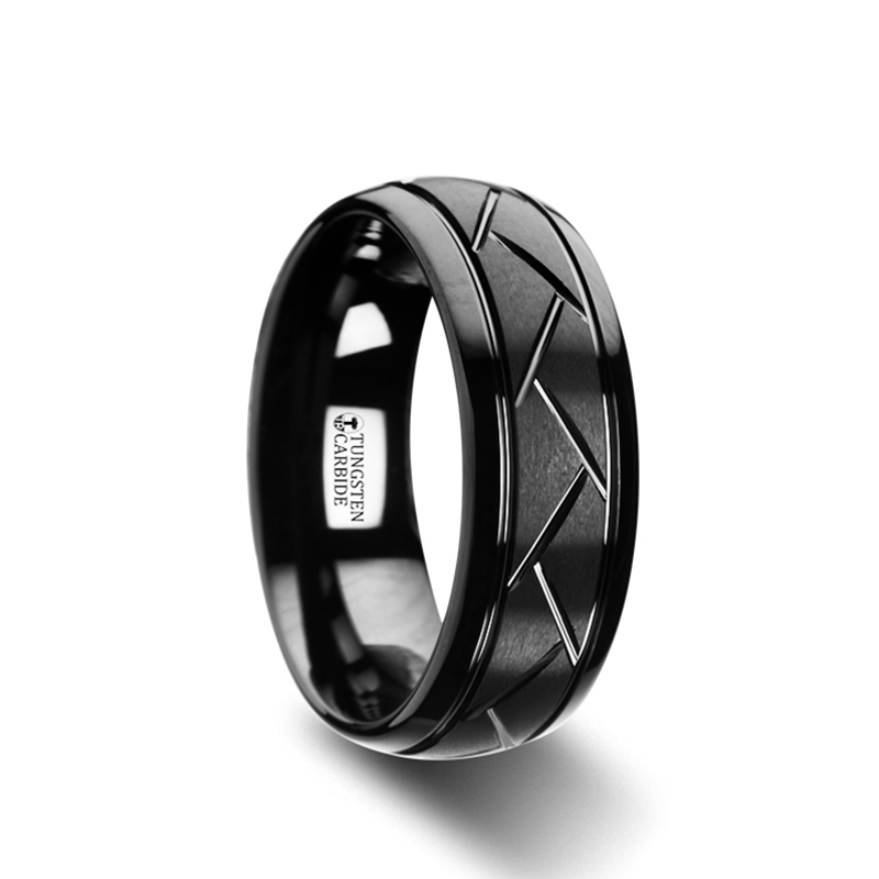 "8 mm Black Tungsten Mens Wedding Bands ""Equator"""
