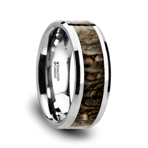 "Tungsten Rings - Dinosaur Bone Inlay ""Amiens"""