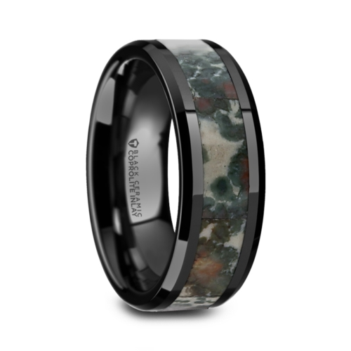 "Black Ceramic Rings - Fossil Inlay ""Desert Dino"""