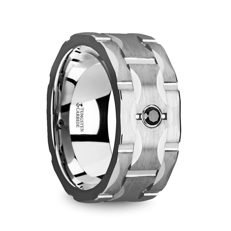 """10 mm Tungsten/Black Diamond """"Salvore"""""""