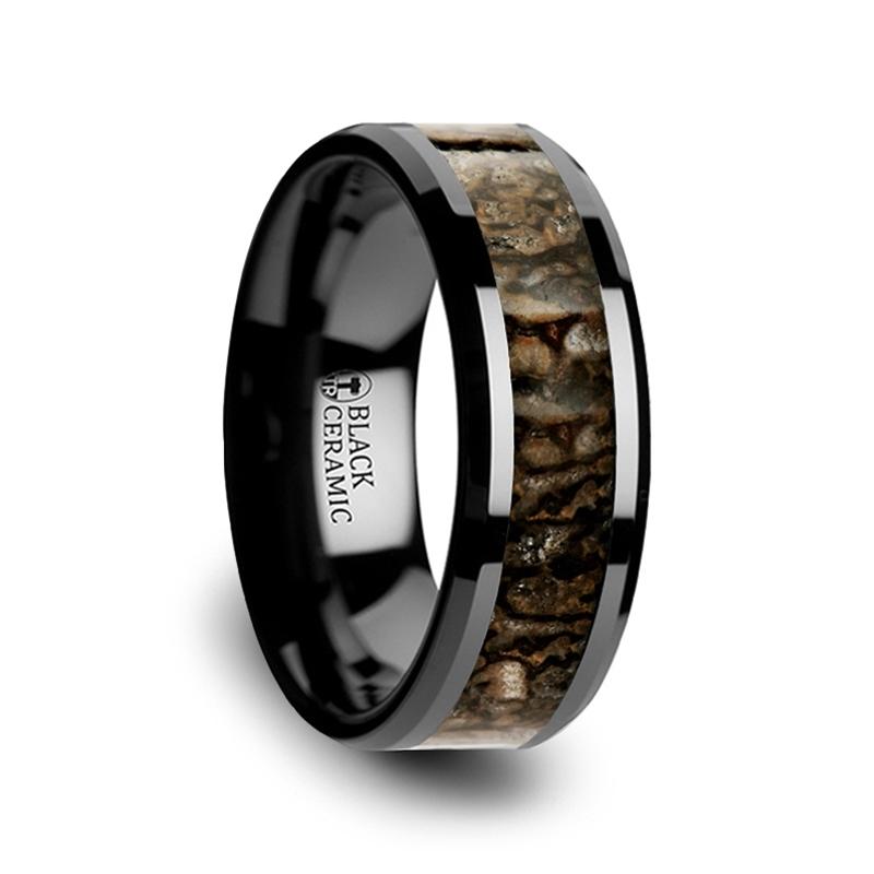 "Black Ceramic Rings - Dinosaur Bone Inlay ""Angers"""