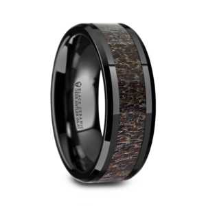 "Black Ceramic Rings - Dark Antler Inlay ""Charmont"""