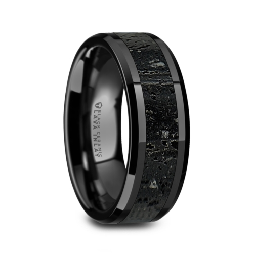 "8 mm Black Ceramic Rings/Lava Rock ""Wilbur"""