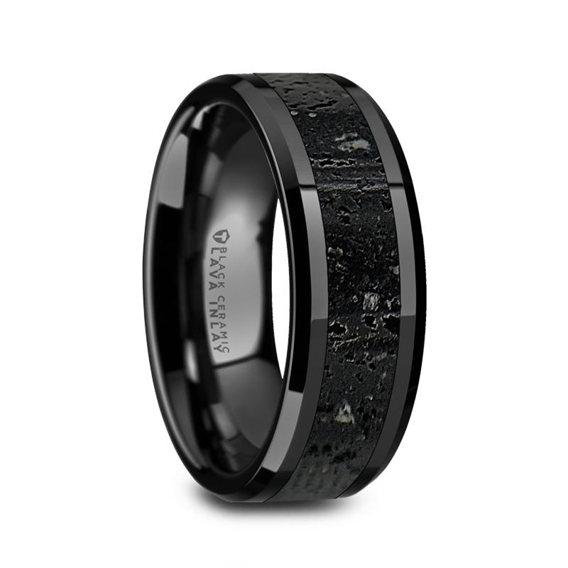 """8 mm Black Ceramic Rings/Lava Rock """"Wilbur"""""""