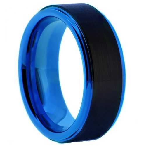 "8 mm Matte Black Tungsten & Blue Sleeve ""Blue Bugle"""