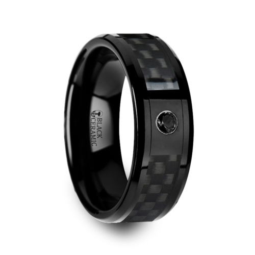 "8 mm Black Ceramic Rings - Carbon Fiber with Black Diamond ""Black Abilene"""