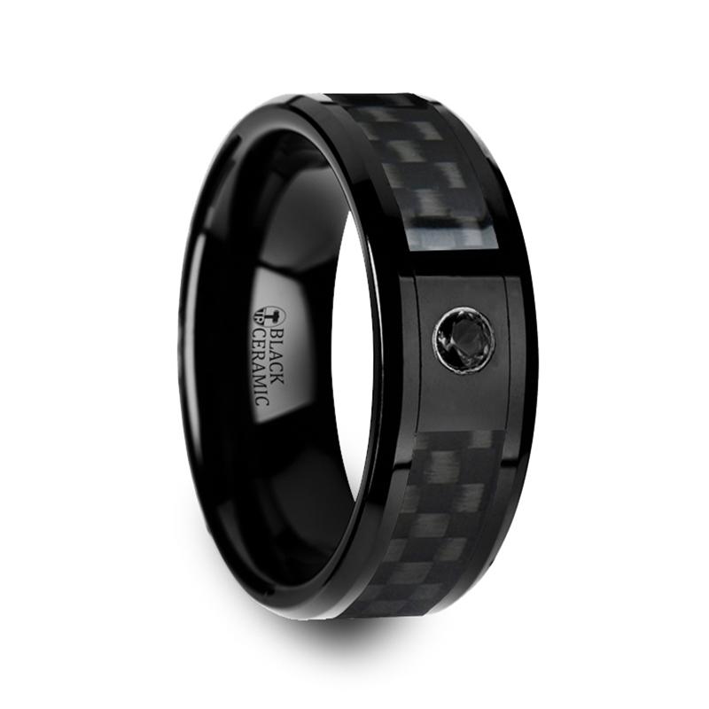 "8 mm Black Ceramic Rings - Carbon Fiber with Black Diamond ""Black Abilene"""