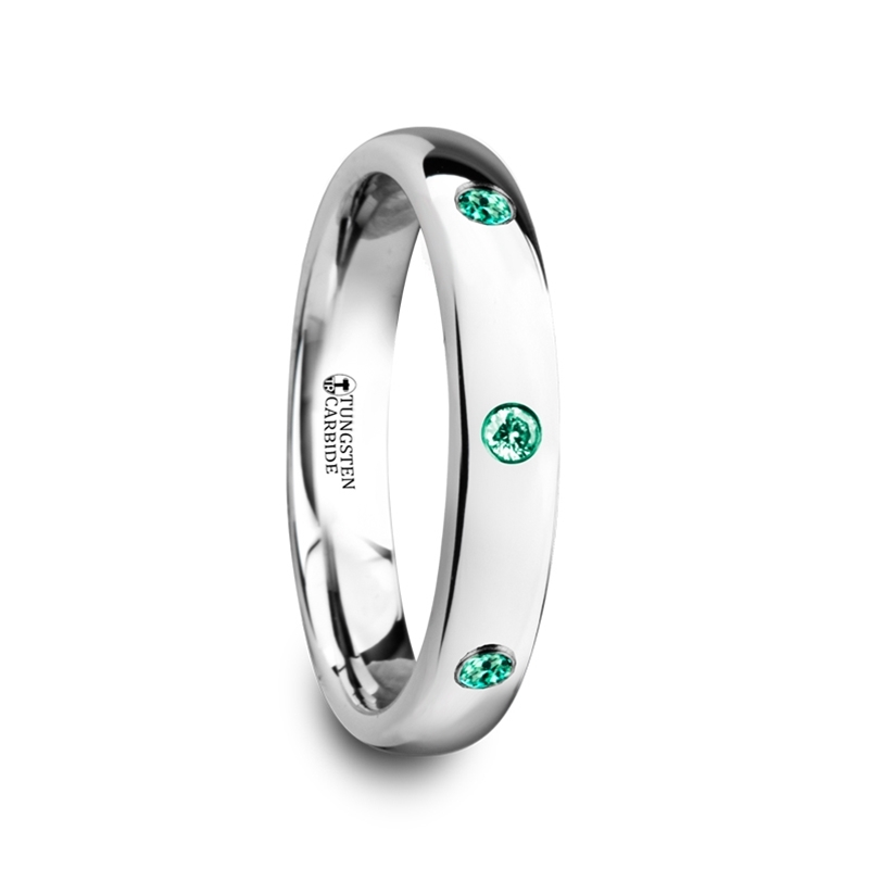 "4 mm with 3 Green Emeralds Tungsten Rings ""Anastasia"""