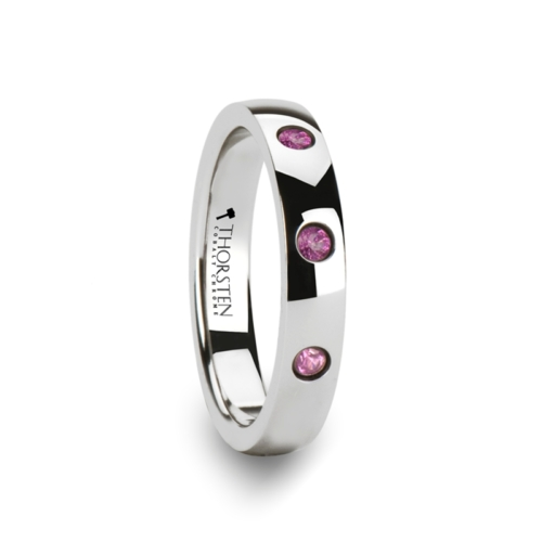 "3-Pink Sapphires - Tungsten Rings ""Amathea"""