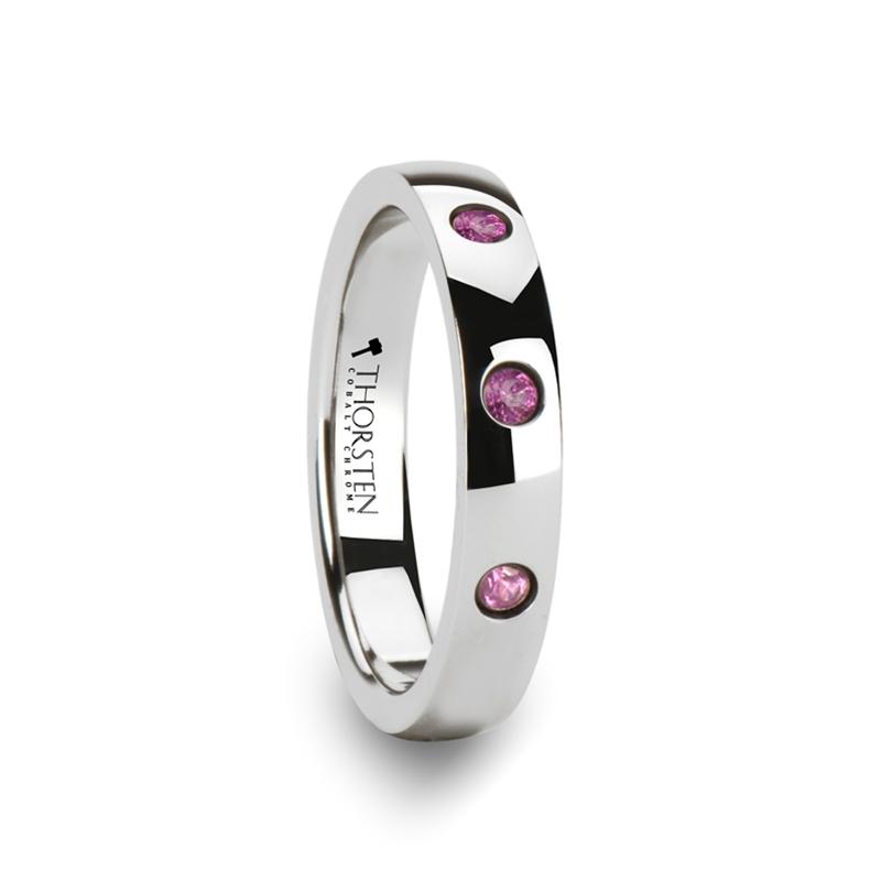 "3-Pink Sapphires - Tungsten Rings ""Amathea"""