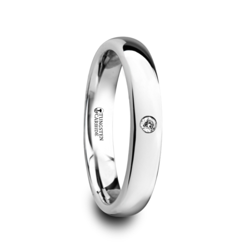 "4 mm with .1 cwt Diamond Tungsten Rings ""April"""