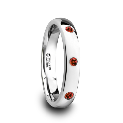 "3-Red Rubies - Tungsten Rings ""Ava"""