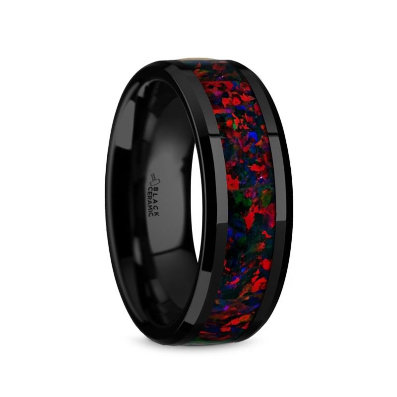 "Black Ceramic Rings - Black/Red Opal Inlay ""Mentor"""