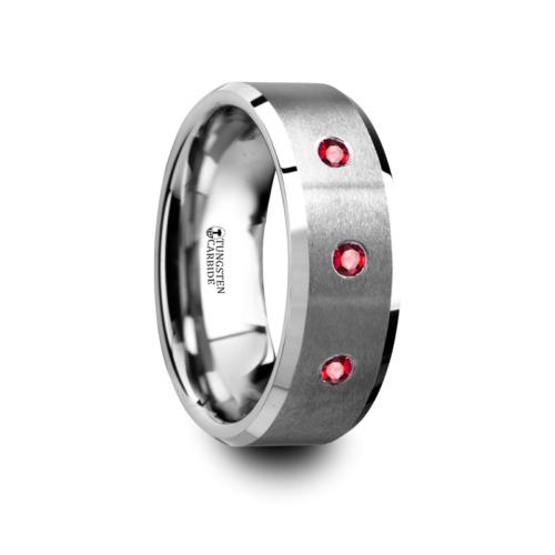"3-Rubies - Tungsten Rings ""Neuchent"""