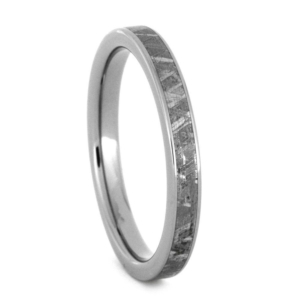 "3 mm Meteorite Inlay - Titanium Rings ""Wornica"""