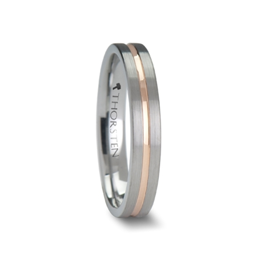 "4 mm Tungsten Carbide with Rose Gold Inlay ""Ambrosia"""