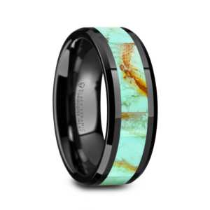 "8 mm Black Ceramic Rings - Blue Turquoise Inlay ""Pastel"""