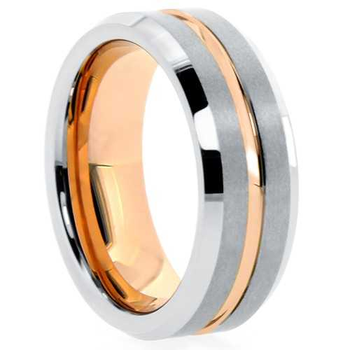"8 mm Matte Finish Tungsten Rose Gold Plated Sleeve ""Rose Garden"""
