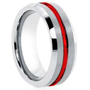 "8 mm Tungsten Rings - Red Groove ""Red Meteor"""