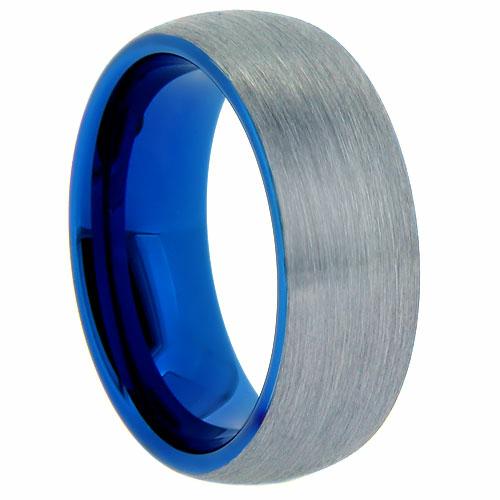 "8 mm Tungsten Rings - Blue Sleeve ""Blast"""