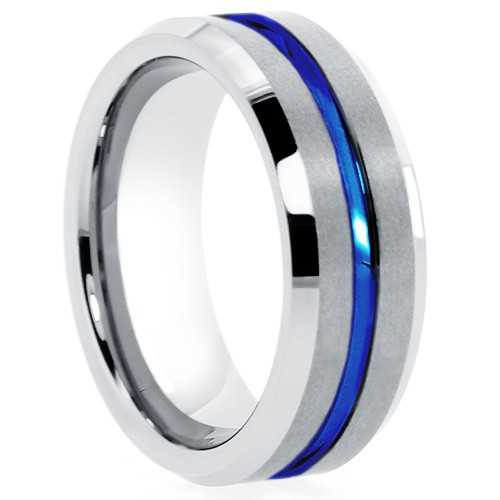 "Tungsten Rings - Blue Groove ""Blue Baton"""