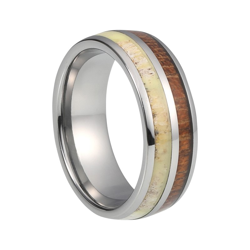 8 Mm Tungsten Rings Koa Wood And Antler Inlay Quot Anwood