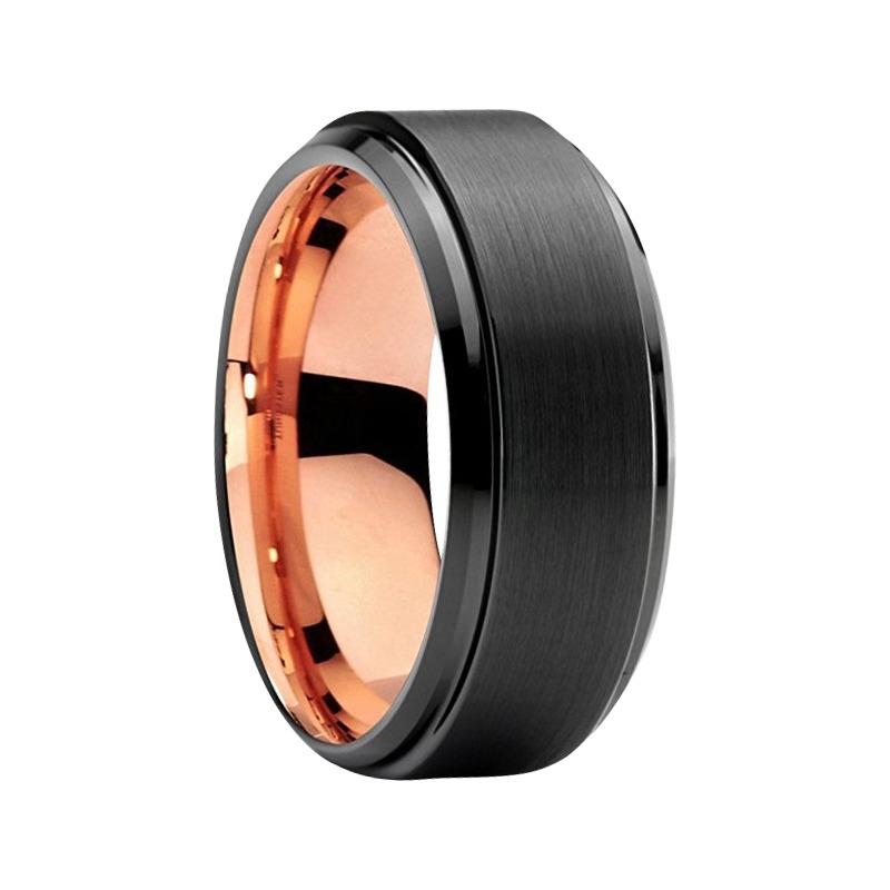 "8MM Rose Gold in Black Tungsten ""Black Jewel - Rose"""