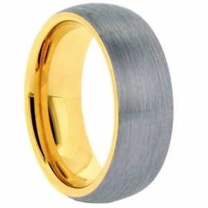 "8 mm Tungsten Rings - Yellow Gold Sleeve ""Eaden"""