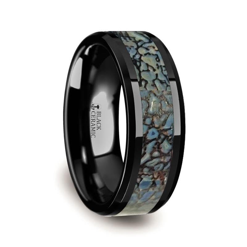 "8 mm Black Ceramic Rings - Blue Dinosaur Bone Inlay ""Caen"""