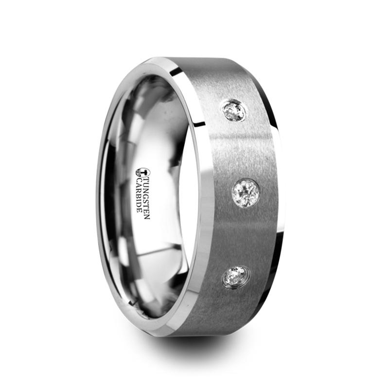 "3-Diamonds - Tungsten Rings ""Symphony"""
