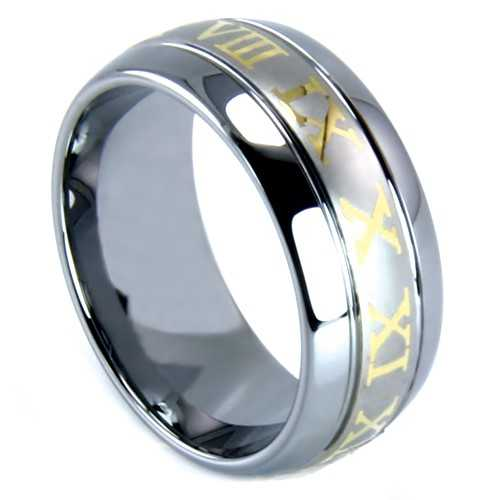 "8 mm Tungsten with Roman Numerals Design ""Roman"""