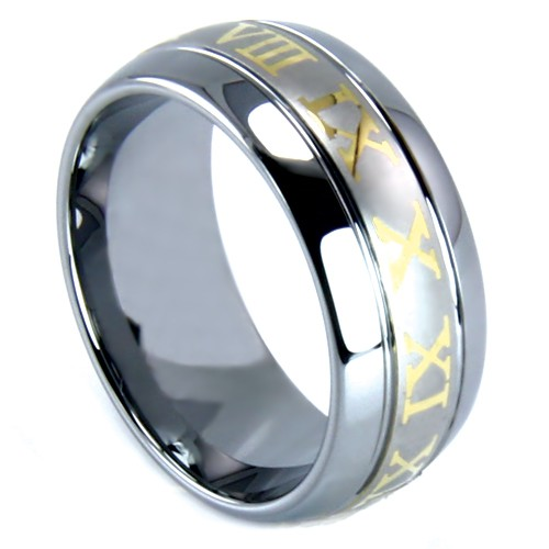 "8 mm Tungsten with Roman Numerals Design ""Roman"""
